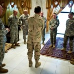 Navy Adm. Mike Mullen, chairman of the Joint Chiefs of Staff greets the various commanding generals of U.S. Forces, Iraq in Baghdad on July 27, 2010. Mullen's final stop in Iraq wraps up the ten-day, around the world trip to meet with counterparts and troops engaged in the war on terrorism. DoD photo by Mass Communication Specialist 1st Class Chad J. McNeeley