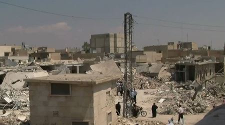Azaz, Syria during the Syrian civil war. After Syria government aerial bombardment (August 18, 2012).