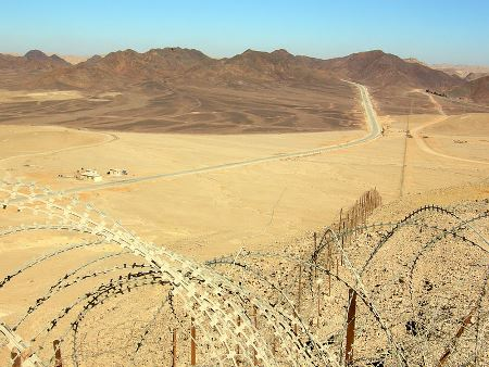 Looking north along Egypt-Israel border north of Eilat.