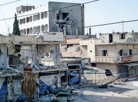 A Shaam News Network image shows damage in Qusayr, near the flashpoint Syrian city of Homs.