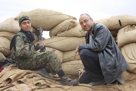 Jonathan Spyer at a front line position near Jarabulus, April, 2014
