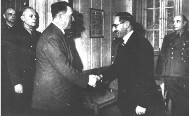 "Figure 1. On July 15, 1942, at his East Prussian headquarters near Rastenburg, Hitler meets the former Iraqi premier Rashid Ali al-Kailani, a member of the al-Qadiriyya brotherhood, which to-gether with seven similar Islamist organizations played a key role in Berlin's Middle East policy from 1894 on. On May 15, 1942, al-Kailani promised Hitler in a secret letter ""to fight the common enemy until final victory."""