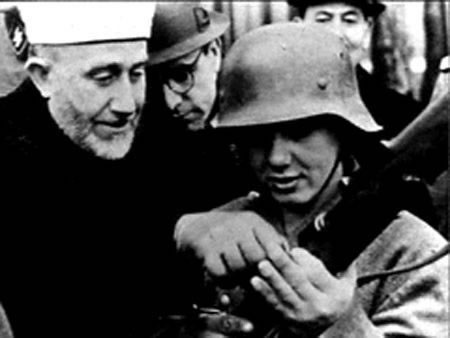 Amin Al Husseini with one of his Nazi Muslim Troops