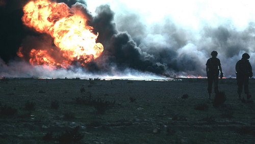 Burning oilfield during Operation Desert Storm, Kuwait.