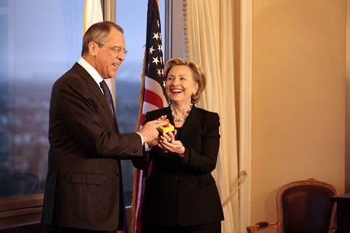 """Restart Button"" offered by U.S. Secretary of State Hillary Rodham Clinton to Russian Foreign Minister Sergey Lavrov in Geneva, Switzerland March 6, 2009. [U.S. State Department photo]"